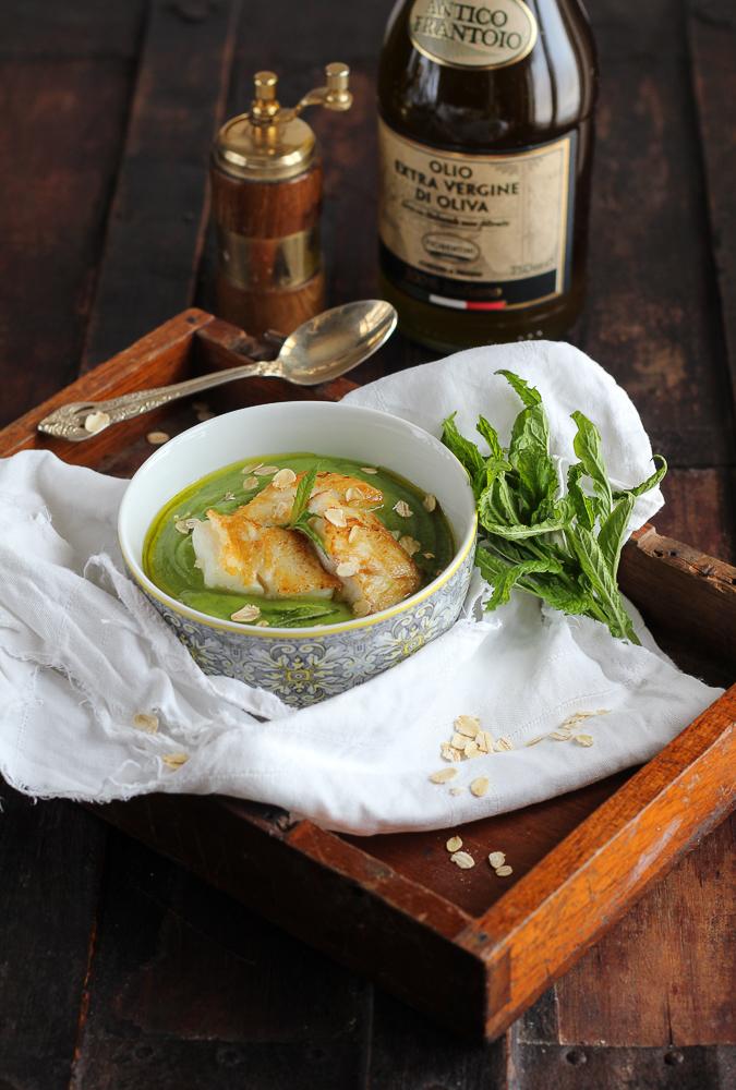 Cremoso di zucchine e filetto di pesce persico