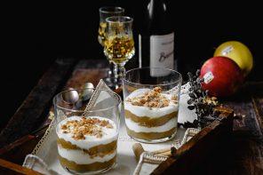 Coppa di yogurt, burro di mele e amaretti